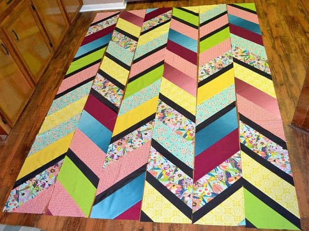 Once I had all my columns prepared, I needed to decide on a layout for my quilt.Preparing the columns was so easy. (There's some cool steps involved that save fabric and give great results.)