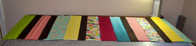 Then I had to cut the fabrics into strips as directed in the handy dandy instructions.