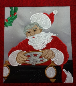 SANTA IN CAR STITCH-OUT